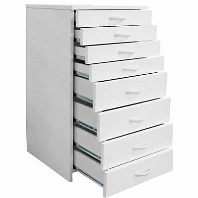 Dental Lab Mobile Storage Cabinet Cart With Eight (8) Drawers & Wheels - Color White Large Model